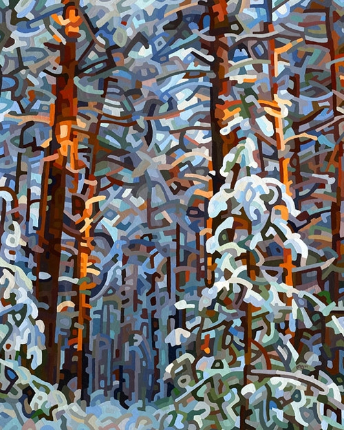 original abstract landscape painting of a deep wintry forest