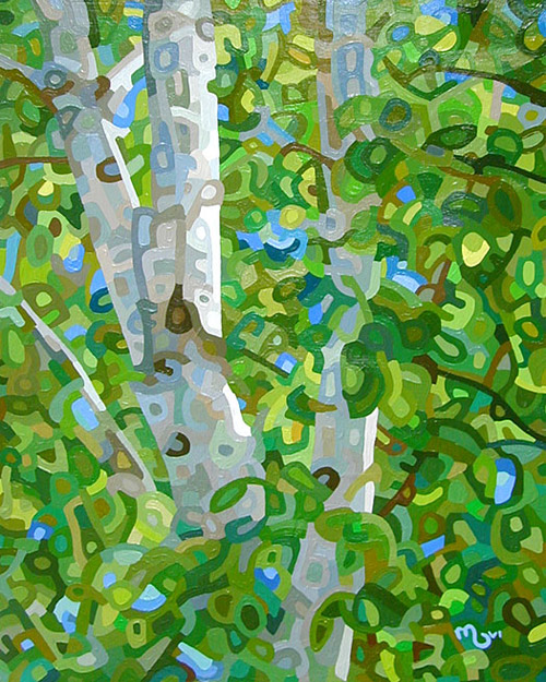 original abstract landscape painting of an summer birch trees in Muskoka