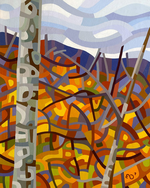 original abstract landscape painting of a fall hill covered in birches and maples