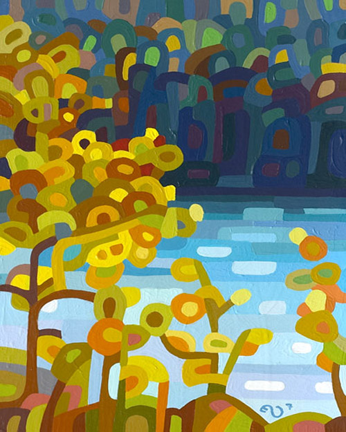 original abstract landscape painting of a fall day on a northern lake