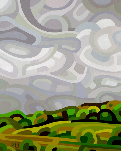 original abstract landscape painting of a storm coming over a summer field