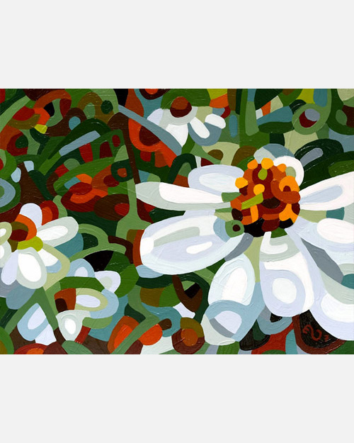 original abstract landscape painting of a field of white flowers on a summer day