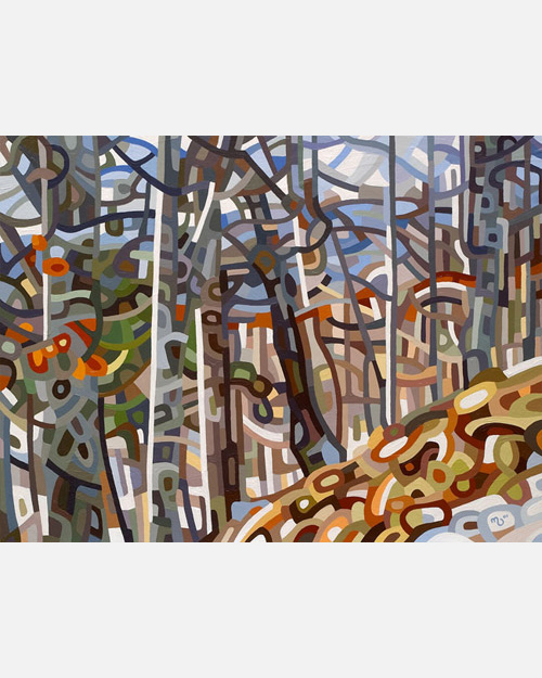 original abstract landscape painting of a forest hill in winter