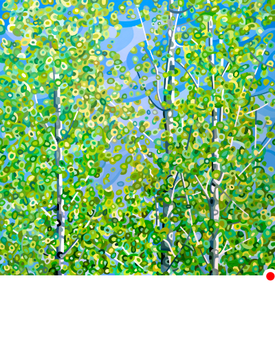 original abstract landscape painting of a day in a green birch forest