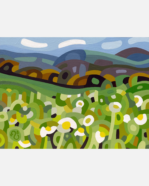 original abstract landscape painting of a field of summer daisies