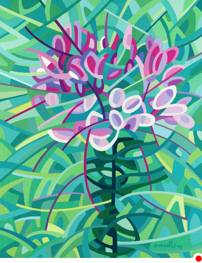 original abstract landscape painting of a cleome blossom