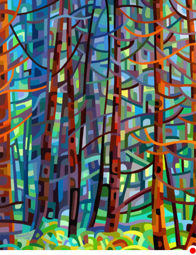 original abstract landscape painting of a forest of pine trees on a summer day