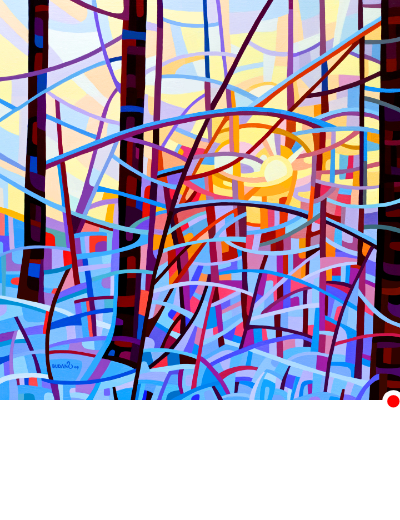 original abstract landscape painting of a sunrise in winter