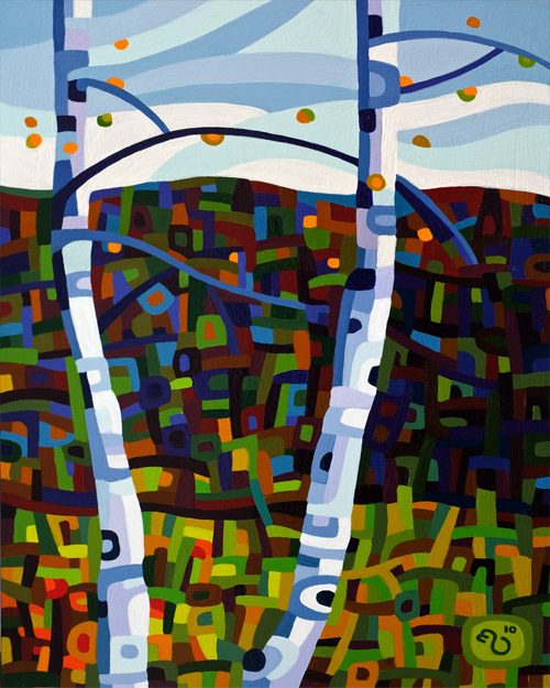 original abstract landscape painting of two birch trees in the fall
