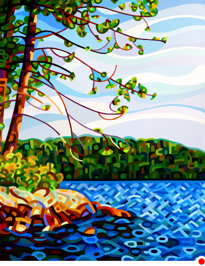 original abstract landscape painting of the view from Ontario cottage country