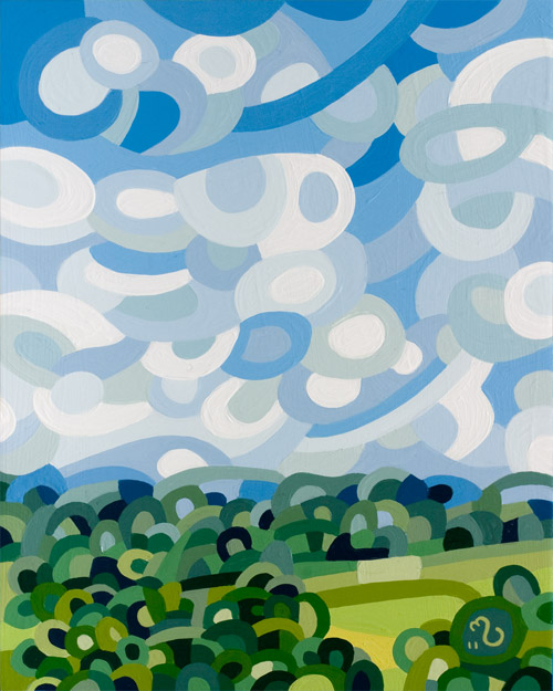 original abstract landscape painting of a summer sky