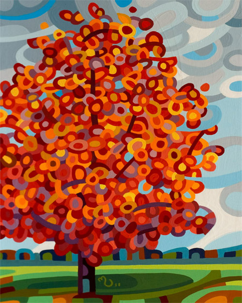 original abstract landscape painting of an autumn maple tree