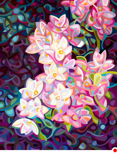 original abstract landscape painting of a pink and white blossoms