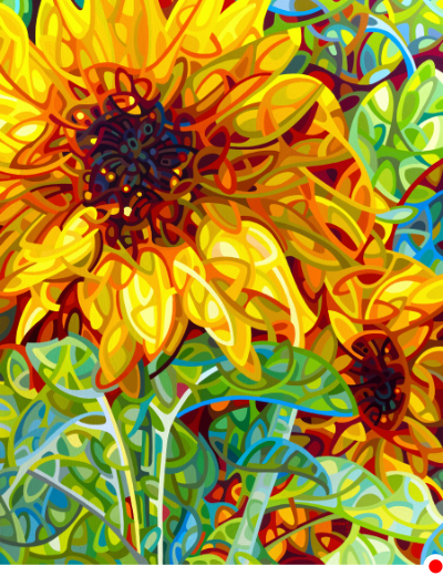 original abstract landscape painting of yellow sunflowers