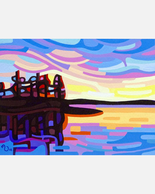 original abstract landscape study of a northern lake sunset