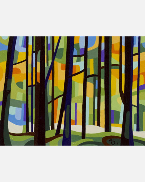 original abstract landscape study of a spring forest