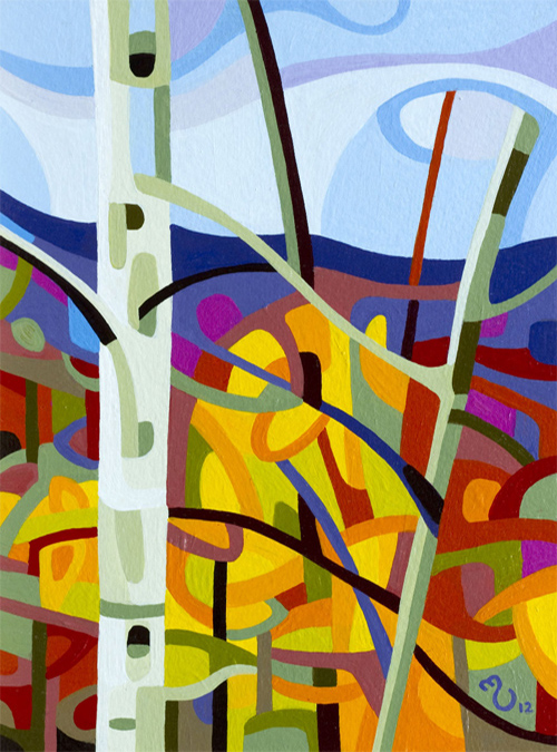 original abstract landscape study of a fall birch
