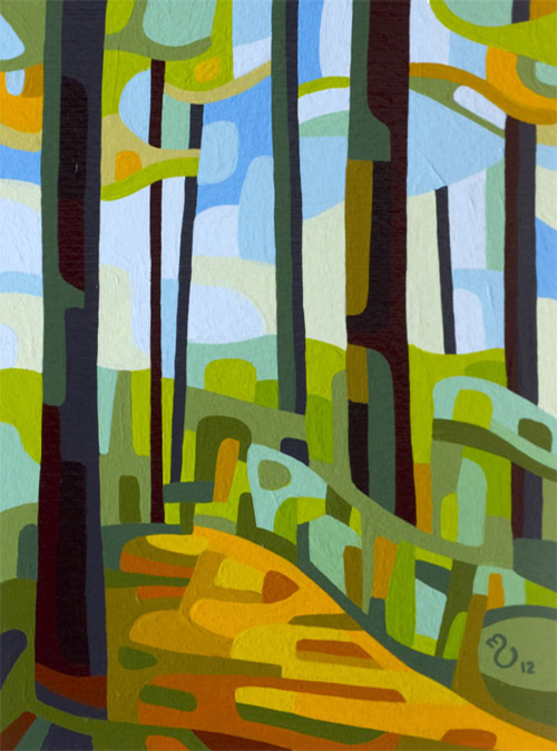 original abstract landscape study of a summer forest