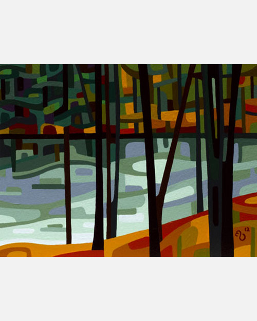 original abstract landscape study of a fall stream orange grey forest