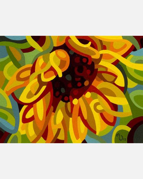 original abstract landscape study of a sunflower