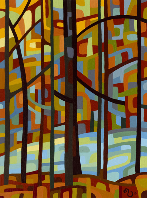 original abstract landscape study of a morning fall forest