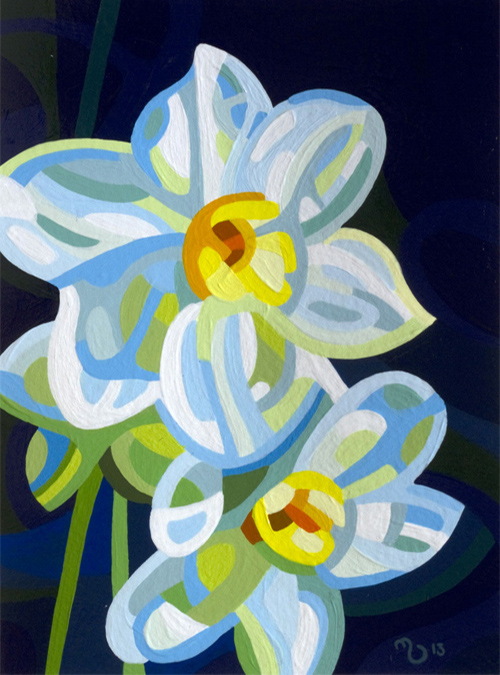 original abstract landscape study of daffodils
