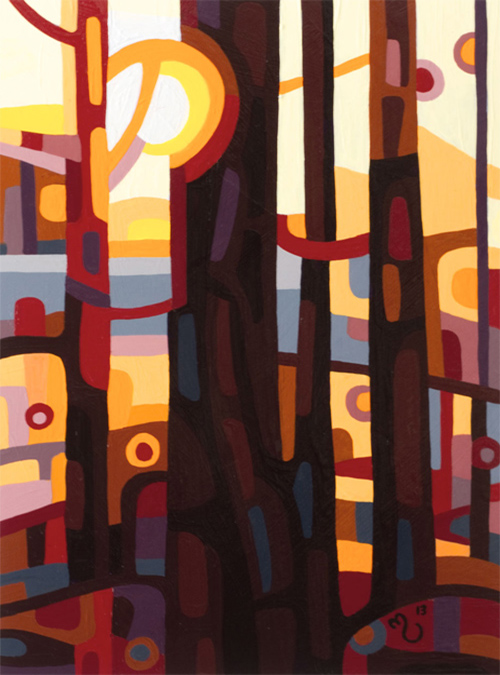 original abstract landscape study of dawn in a red forest