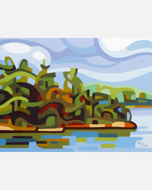 original abstract landscape study of a fall lake