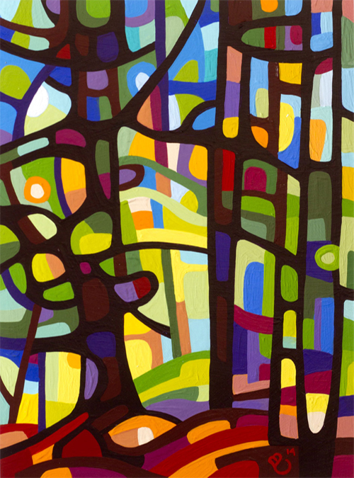 original abstract landscape study of a colorful forest morning