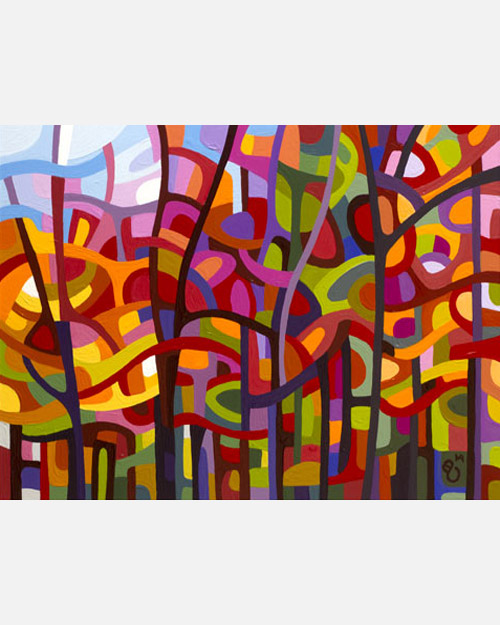 original abstract landscape study of a bright fall forest