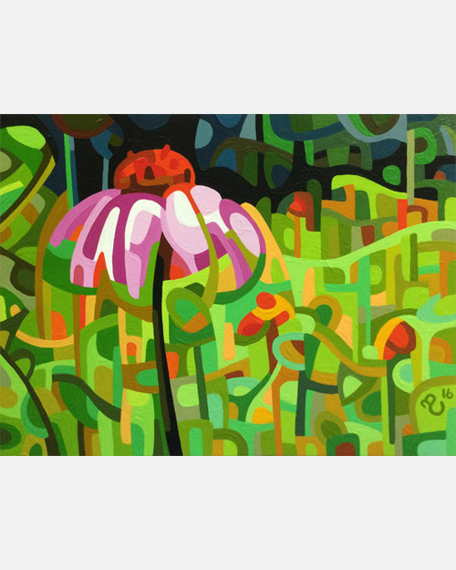 original abstract landscape study of a purple coneflower