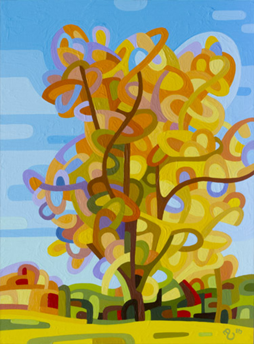 original abstract landscape study of a fall tree