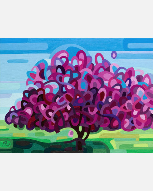 original abstract landscape study of a pink tree