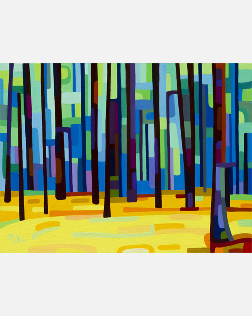 original abstract landscape study of an early spring forest morning
