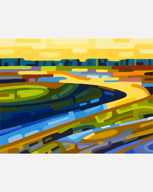 original abstract landscape study of yellow sunset wetlands