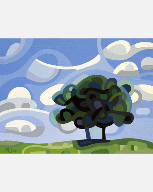 original abstract landscape study a single tree in summer