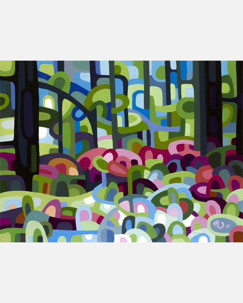 original abstract landscape study of spring forest flowers