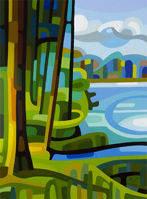 original abstract landscape study of a forest and lake in summer