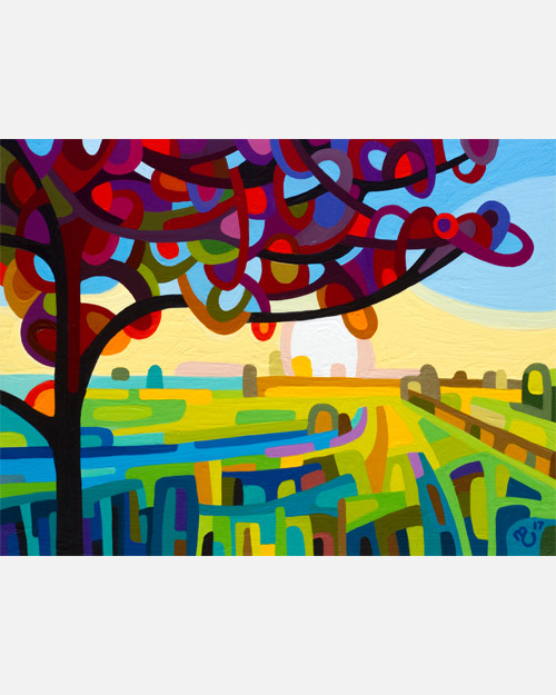 original abstract landscape study of a maple tree and field at dawn