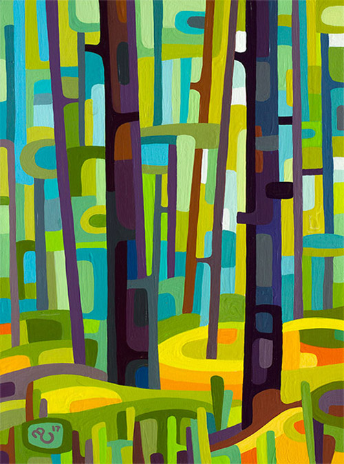 original abstract landscape study of a summer green forest