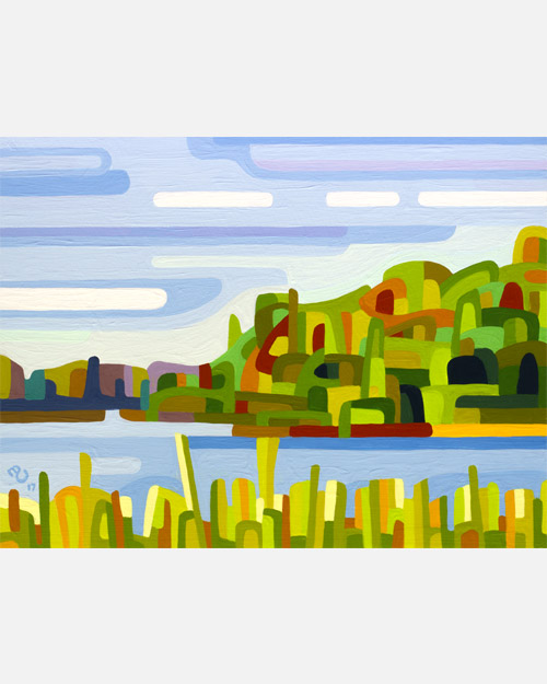 original abstract landscape study of a summer day at a quiet lake with blue and green