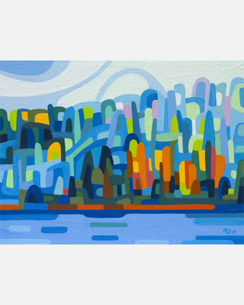 original abstract landscape study of a blue and green shore on a summer morning