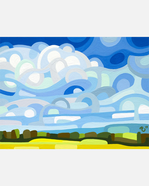 original abstract landscape study of a summer field full of blues and yellows and greens