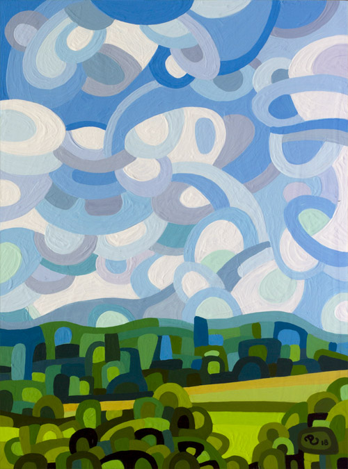 original abstract landscape painting study of a summer field with clouds
