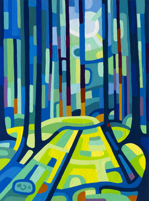 original abstract landscape painting study of the light in a forest