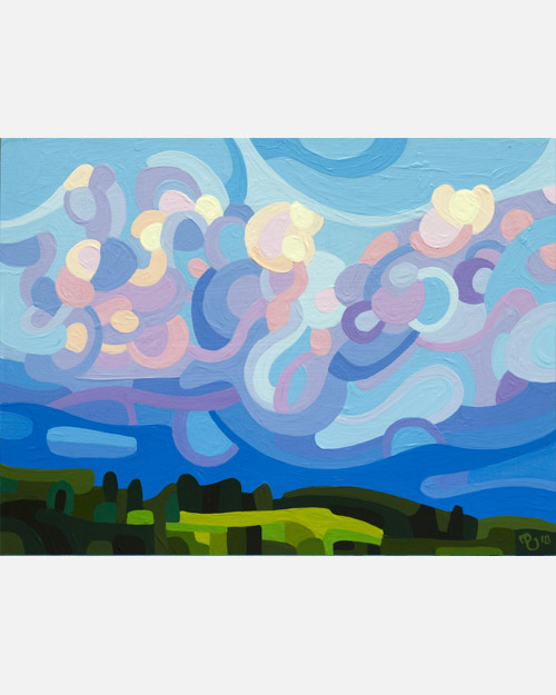 original abstract landscape painting study of a morning sky