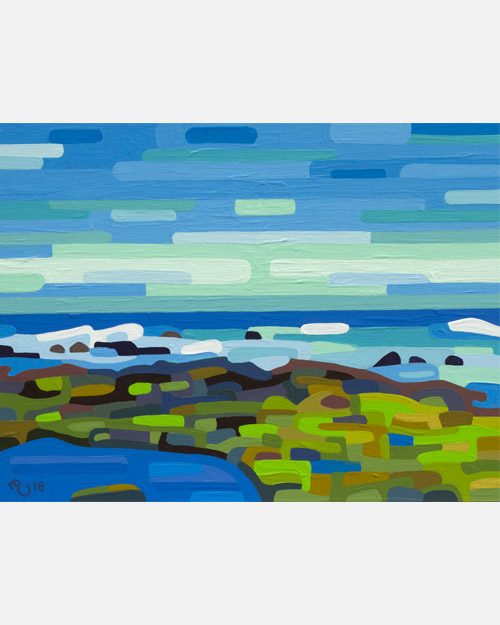 original abstract landscape painting study of rocky sea shore