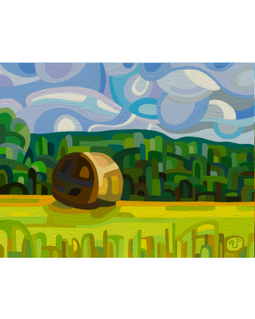original abstract landscape painting summer field