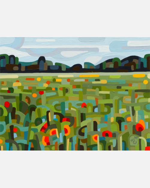 original abstract landscape painting poppy field
