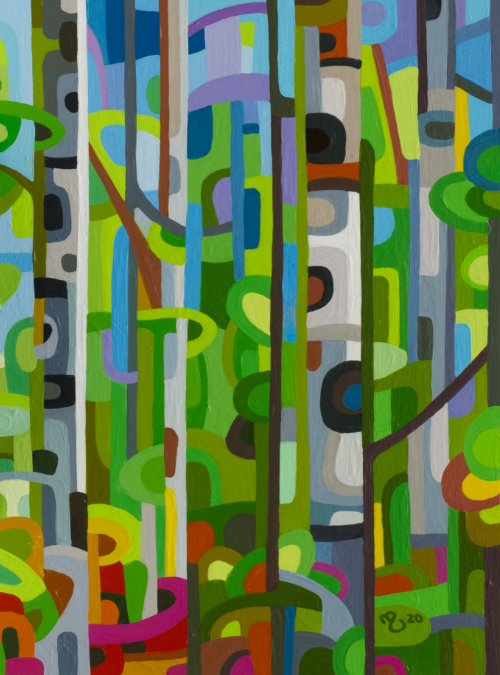 original abstract landscape painting birch forest